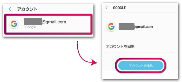 ログアウトしたいGoogleアカウントを選択して削除する