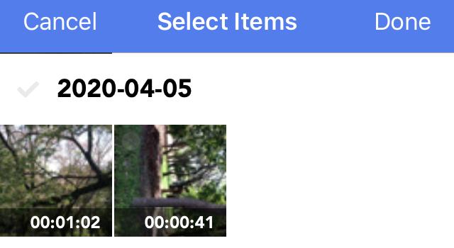 iPhone本体内の動画データを選択